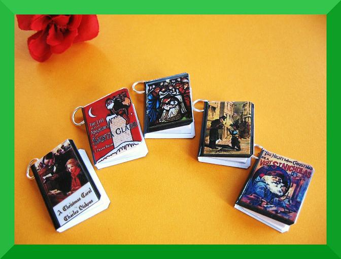 Christmas Miniature Book Charms Set Of 5 On Luulla