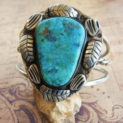 Vintage Sterling Silver Large Stone Turquoise Cuff Bracelet with Blossom Leaves