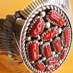 Vintage Sterling Silver Coral Southwestern Bracelet Cuff