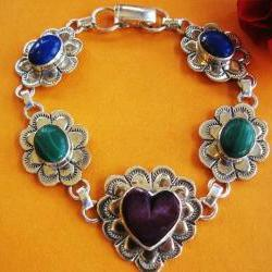 Vintage Heart Link Sterling Silver Bracelet - Multi Stone - Colorful